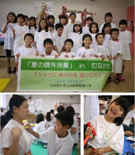 写真左:親子でお互いのTシャツに臓器を描いている様子