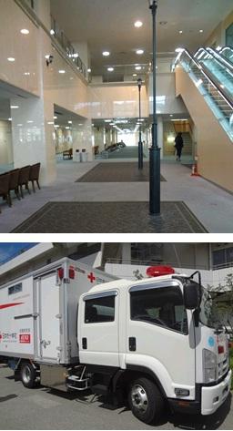 写真上:神戸赤十字病院 エントランス 写真下:dERU(国内型緊急対応ユニット)の外観