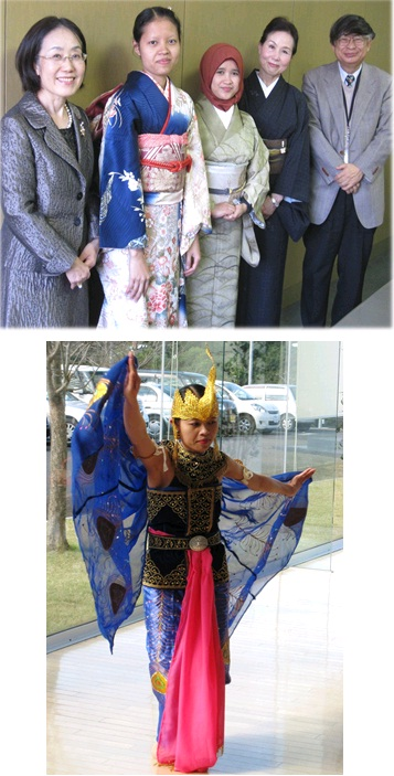 写真上: 着物の着付け体験 写真下: ウィ・ウィンさんによる民族舞踊「孔雀の舞」